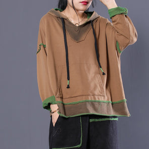 Coffee Women Pullover Drawstring Stitch Hoodie