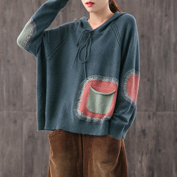 Color Contrast Pocket Drawstring Sweater