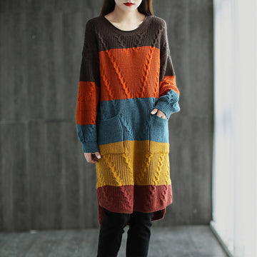 Color Contrast Retro Knitted Sweater Dress