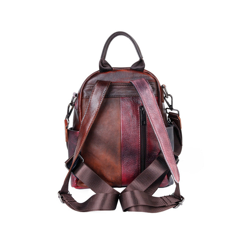 Color Contrast Stitching Leather Backpack