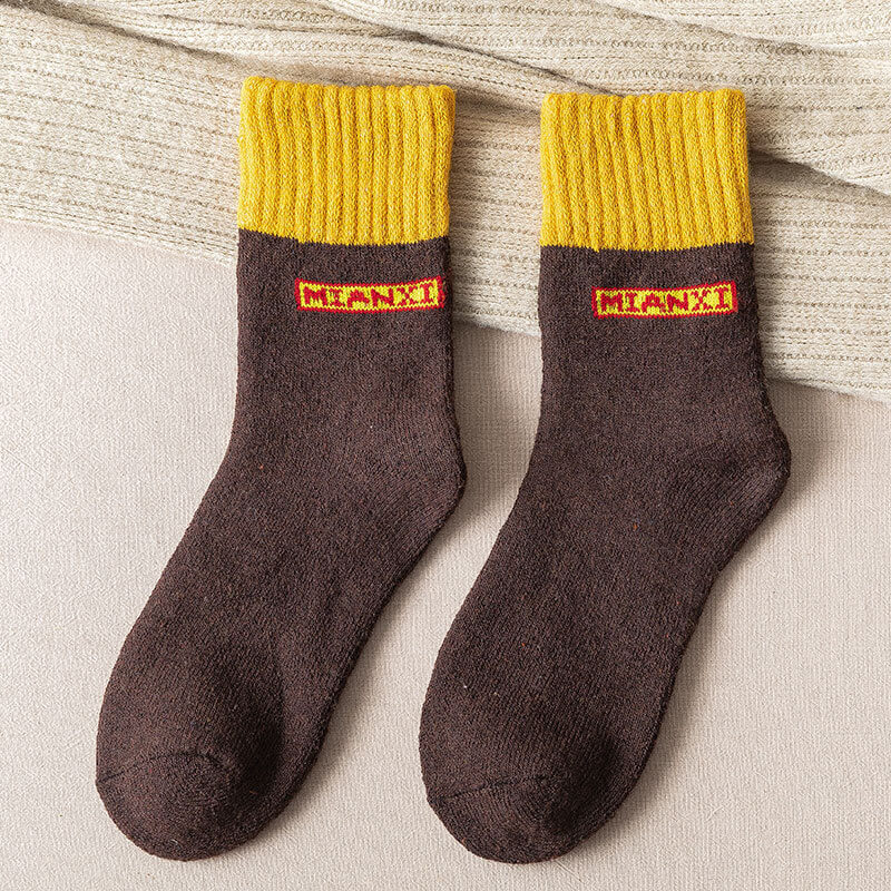 Color Contrast Thicken Warm Socks(3 Pairs)