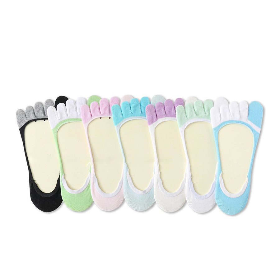 Color Matching No-show Toe Socks For Women (4 pairs)