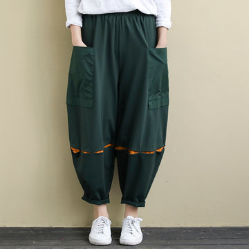 Color Matching Splicing Casual Cotton Green Pants