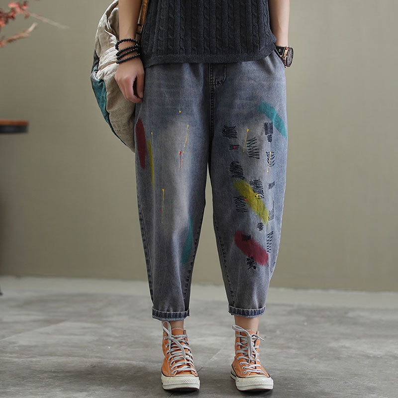 Color Block Embroidery Casual Jeans