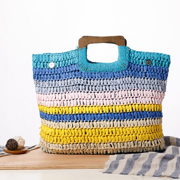 Color Matching Casual Square Tote Bag