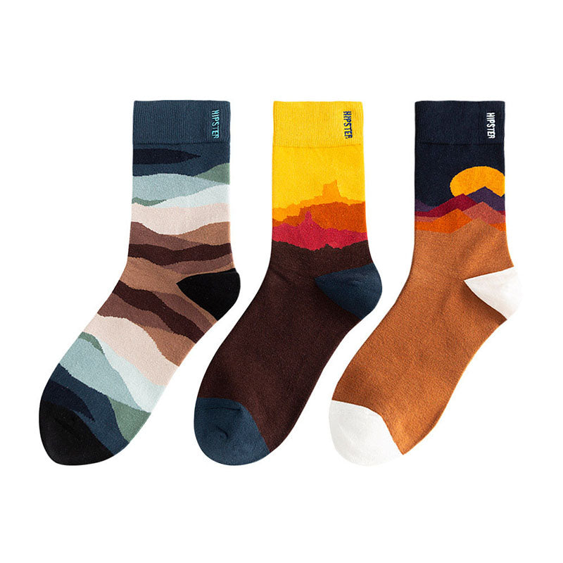 Color Matching Fashion Socks - 3 Pairs