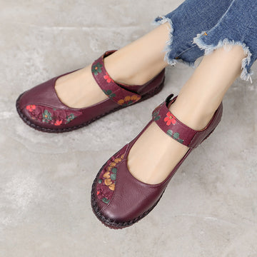 Color Matching Floral Printed Leather Women' Shoes