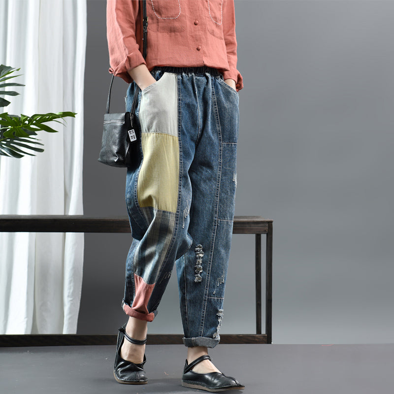 Color Matching Frayed Patchwork Casual Jeans