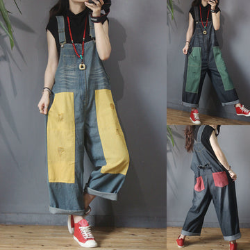 Color Matching Frayed Personality Loose Jumpsuit