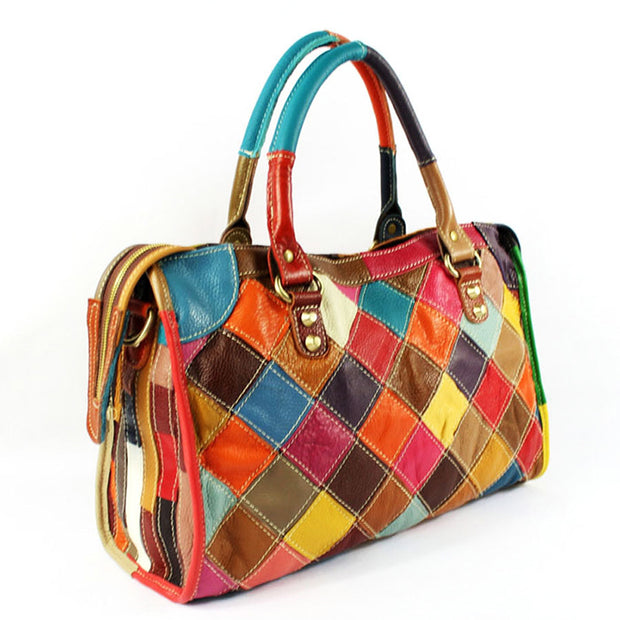 Color Matching Plaid Handbag Crossbody Bag