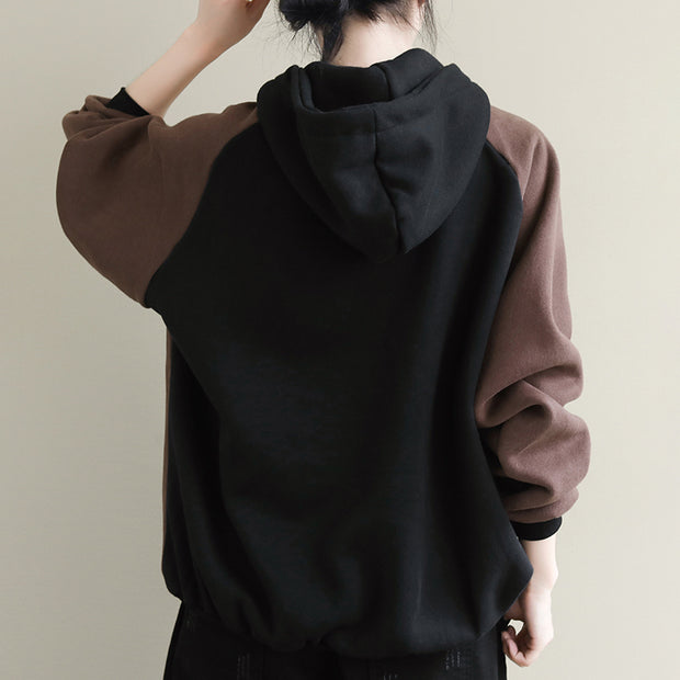Color Matching Retro Loose Warm Hoodie