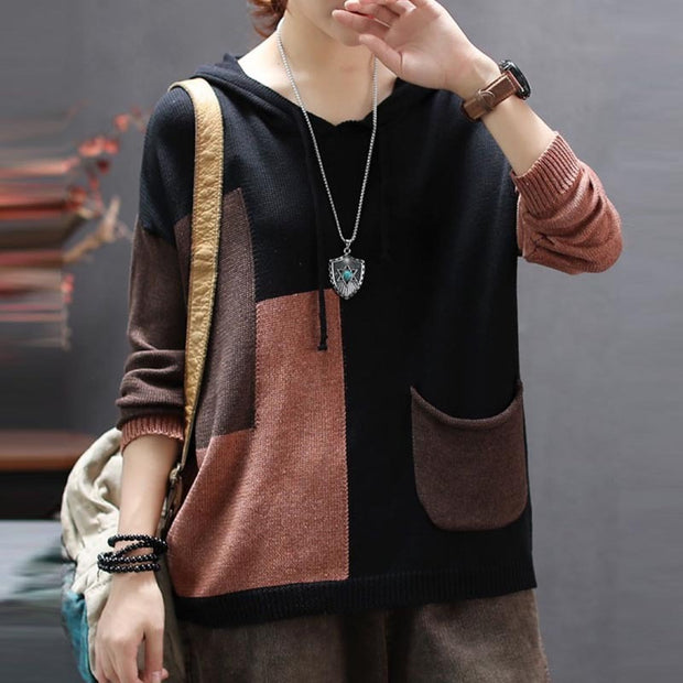 Color Matching Retro Soft Knitted Shirt