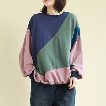 Color Matching Round Neck Long Sleeve T-shirt