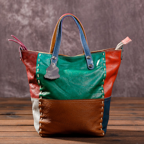 Color Matching Sewing Fashion Tote Bag