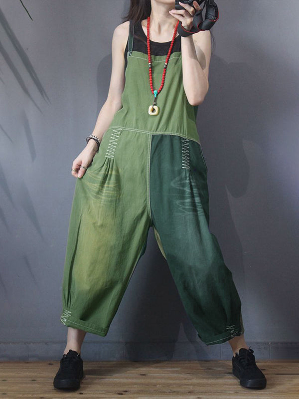 Color Matching Spliced Personality Loose Jumpsuit