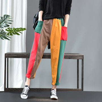 Color Matching Thin Harem Pants