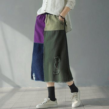 Colorblock Hole Spring Denim Skirt