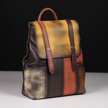 Colore Matching Casual Leather Backpack