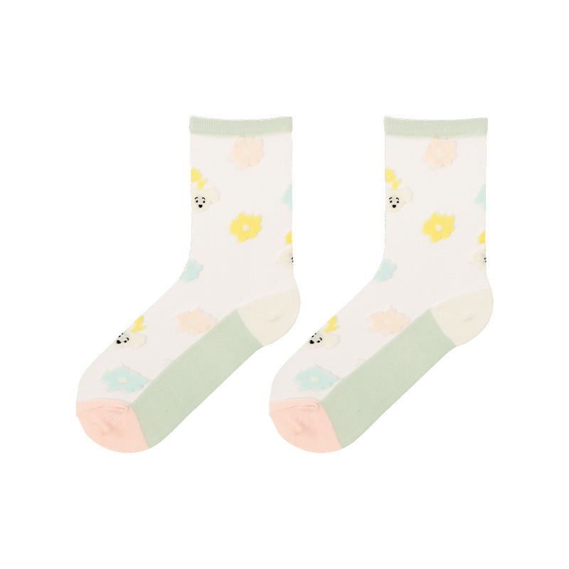 Colored Cartoon Animal Jacquard Women Socks - 2 Pairs