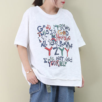 Colored Letter Printed Summer Cotton T-shirt