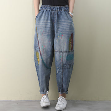 Colored Paint Hole Distressed Jeans