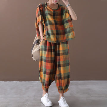 Colored Plaid Casual Cotton Two Piece Set