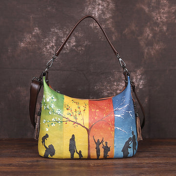 Colored Printed Stitching Leather Tote Bag - Buykud