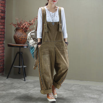 Colored Side Striped Casual Distressed Denim Jumpsuit