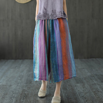 Colored Stripe Flower Ramie Wide Leg Cropped Pants