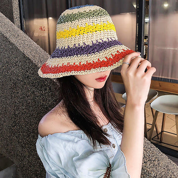 Colored Striped Summer Beach Straw Hat
