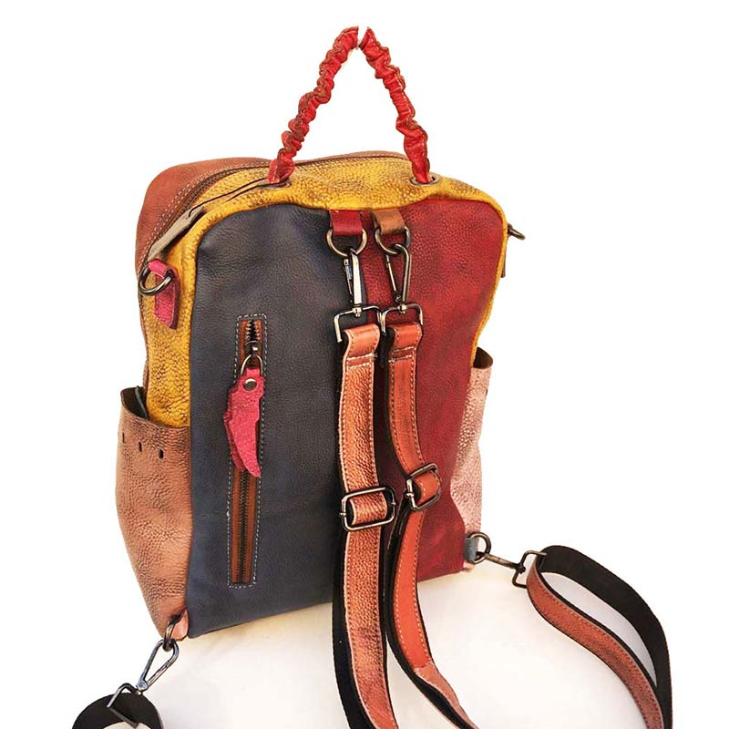 Colored Blocks Casual Distressed Backpack
