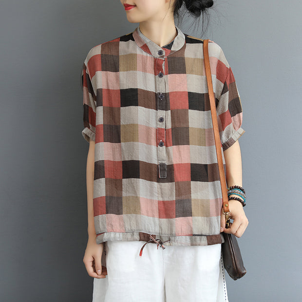 Colored Plaid Stand Collar Casual Shirt