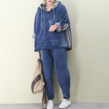 Colored Stripe Denim Casual Two Piece Suit