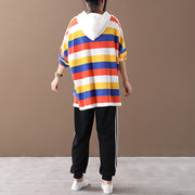 Colored Stripes Drawstring Loose Casual Hoodie