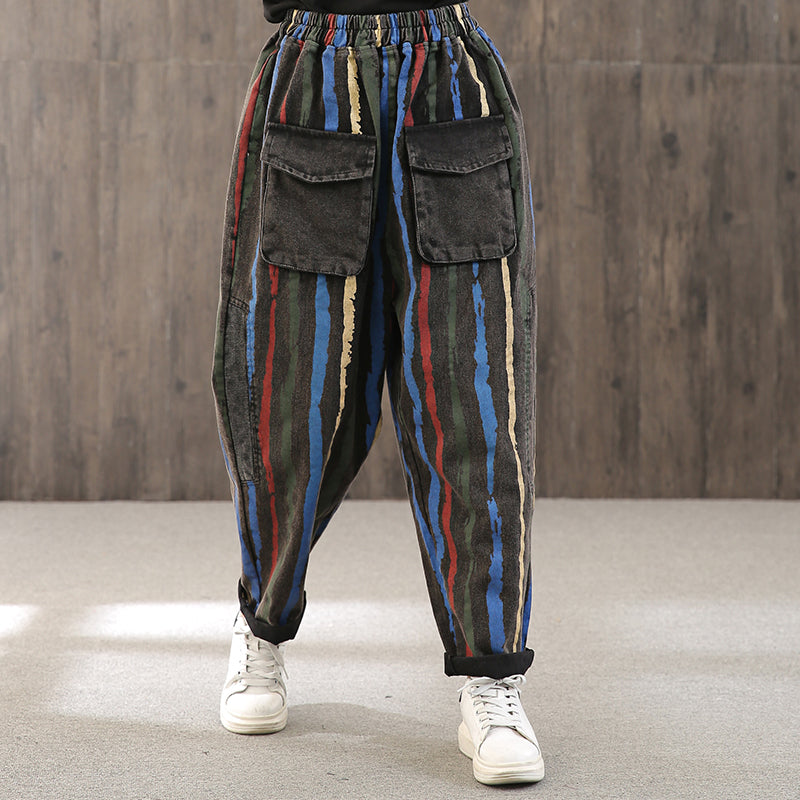 Colored Vertical Stripe Casual Pants