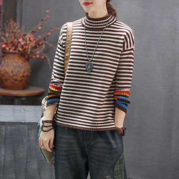 Colorful Cuffs Casual Stripe Sweater