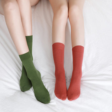 Combed Cotton Solid Color Socks For Women (2 Pairs)