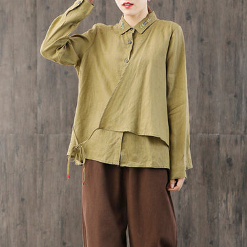 Comfortable Embroidery Lacing Linen Shirt