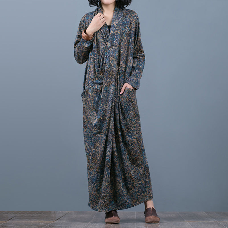 Comfortable Printed V-Neck Retro Loose Dress