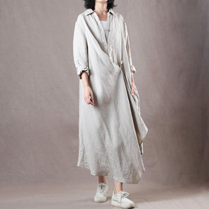 Communter Beige Asymmetric Midi Autumn Shirt Dress