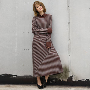 Commuter Cotton Stripes Loose Long Sleeve Khaki Dress