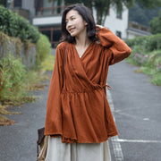 Commuter Linen Solid Lady's Flare Sleeve Top