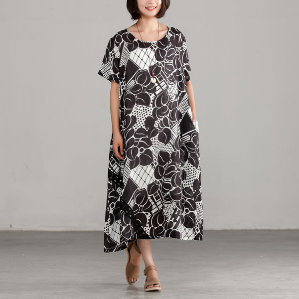 Commuter Summer Printing Pocket Black Dress