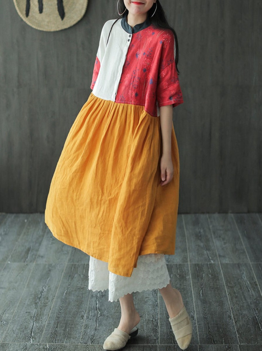 Contrast Color Floral Print Knee Length Linen Dress