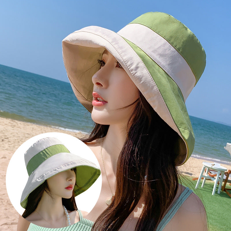 Contrast Color Outdoor Wide Brim Bucket Hat
