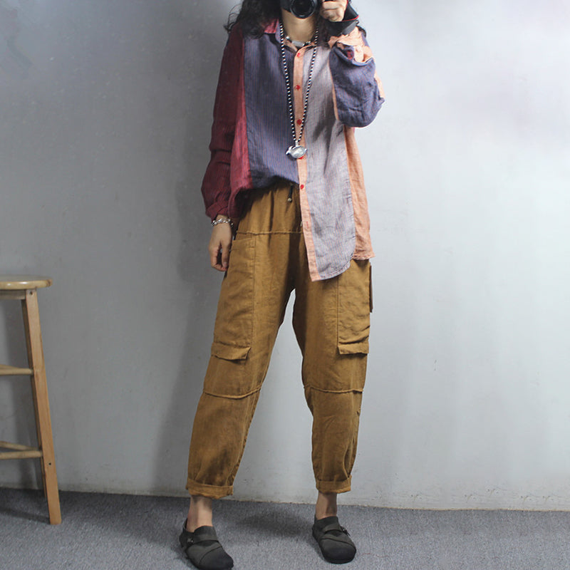 Contrast Color Spring Linen Striped Shirt