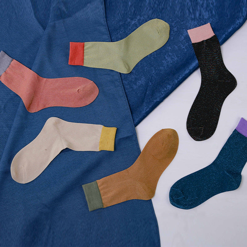 Contrast Color Summer Thin Socks - 5 Pairs