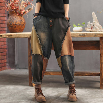 Contrast Color Burr Casual Harem Jeans