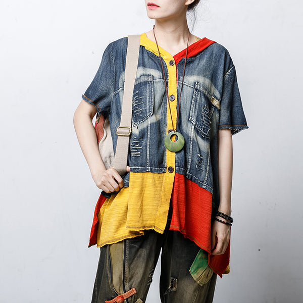 Contrast Color Frayed Spliced Hooded Blouse