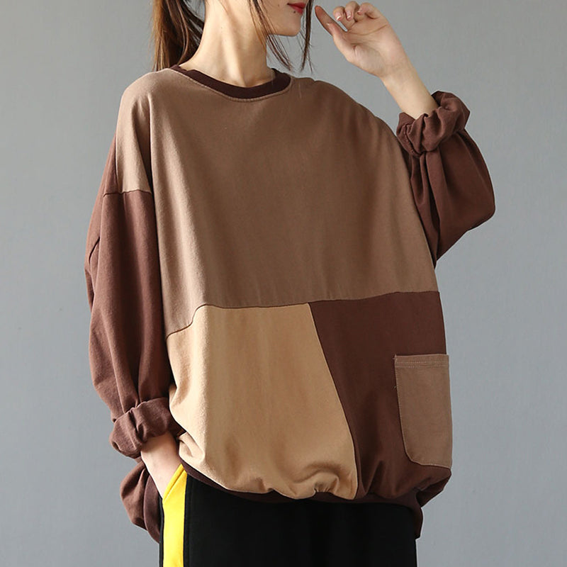 Contrast Color Loose Long Sleeve Shirt